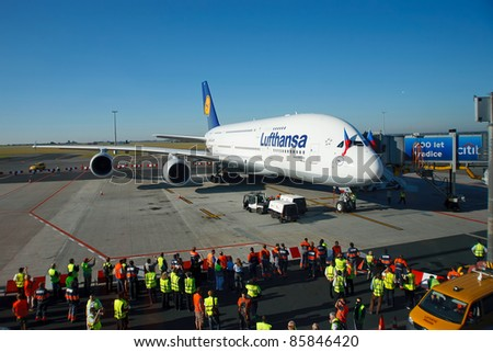 PRAGUE, CZECH REPUBLIC - OCTOBER 2: first-ever arrival of the largest passenger aircraft today, Airbus A380, to the Airport Prague on October 2, 2011. Wide angle view of the plane on stand.