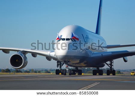 PRAGUE, CZECH REPUBLIC - OCTOBER 2: first-ever arrival of the largest passenger aircraft today, Airbus A380, to the Airport Prague on October 2, 2011. A380 on the way to the stand C11.