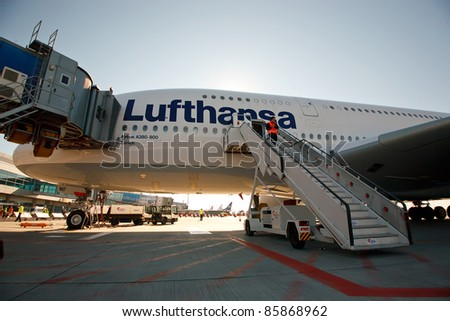 PRAGUE, CZECH REPUBLIC - OCTOBER 2: first-ever arrival of the largest passenger aircraft today, Airbus A380, to the Airport Prague on October 2, 2011. Side view on the A380 with great backlit effect.