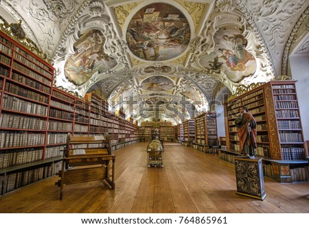 Prague, Czech Republic - October 26, 2018: Inside interior of One of the most beautiful libraries in the world - Library of Strahov Monastery (Strahovsky Klaster) in Prague , Czech Republic
