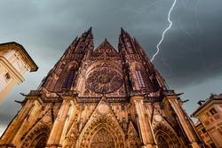 PRAGUE, CZECH REPUBLIC, SEPTEMBER 11 : exteriors of saint Vitus cathedral, Prague castle, czech republik, september 11, 2019 in Prague, czech republic