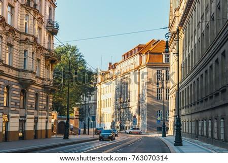 Prague, Czech Republic, September 30, 2017: Traffic jam on the street in Prague, Czech Republic #763070314