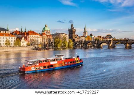 Prague, Czech Republic skyline with historic Charles Bridge. Boat cruise on Vltava river Stock photo ©