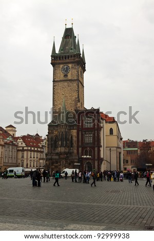 PRAGUE, CZECHIA - NOVEMBER 21: Tourists and locals at Old Town Square on November 21, 2011 in Prague, Czechia. Town hall with famous Prague Astronomical Clock  - one of medieval attractions since 1410