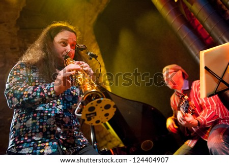 PRAGUE - DECEMBER 31: Rhytm Desperadous group performs in Agharta Jazz Club at the 2013 New Year celebrations on December 31, 2012 in Prague.