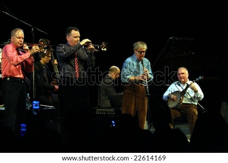 PRAGUE - DECEMBER 20: Woody Allen and his New Orleans Jazz Band playing in the Congress Centre, December 20, 2008 in Prague, Czech Republic - stock photo