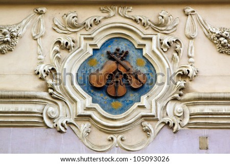Prague famous houses, At the Three Little Fiddles, Nerudova, 12 - stock photo