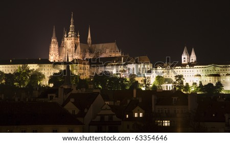 Prague in night - castle and st. Vitus cathedral