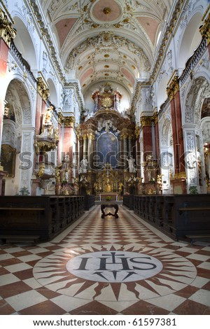 Prague - interior of baroque church of st. Nicholas - Old town square
