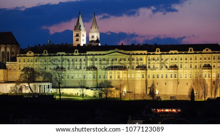 Prague is the capital of the Czech Republic. Political and cultural center of Bohemia. Its historic center was included in the Unesco World Heritage. Landscape at the castle in the night