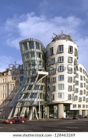 PRAGUE - JULY 7: Modern building, also known as the Dancing House, designed by Vlado Milunis and Frank O. Gehry stands on the Rasinovo Nabrezi. Photographed on July 7, 2009 in Prague, Czech Republic