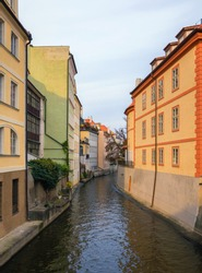 Prague Mala Strana canal and houses. Prague, Czech Republic