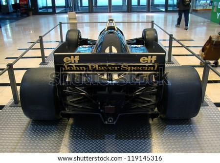 PRAGUE - OCTOBER 16: Exhibition of historic Formula 1 cars in Prague on October 16, 2009. (Lotus JPS 98T, 1986) Famous black Lotus of Ayrton Senna.