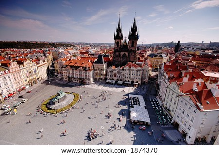 Prague old city square - from above