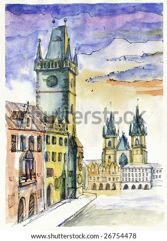 prague old square, hand painted picture, scan - stock photo