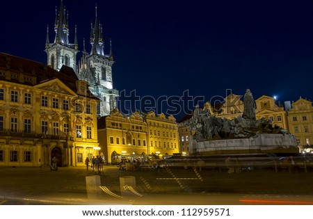 Prague Old square night