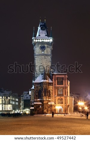 Prague Old town hall in winter at night