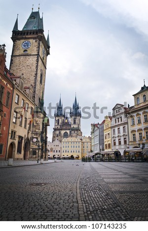 Prague, Old Town Hall (15th Century), Town Square and Church of our Lady Tyn (1365) in the morning.