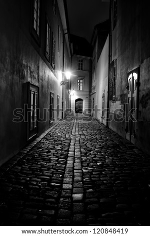 Prague Old Town illuminated by lamps