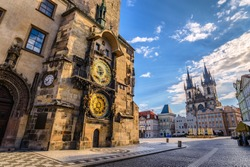 Prague Old Town Square Czech Republic, sunrise city skyline at Astronomical Clock Tower empty nobody