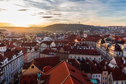 Prague, Old Town Square with traditional red roofs. Czech Republic