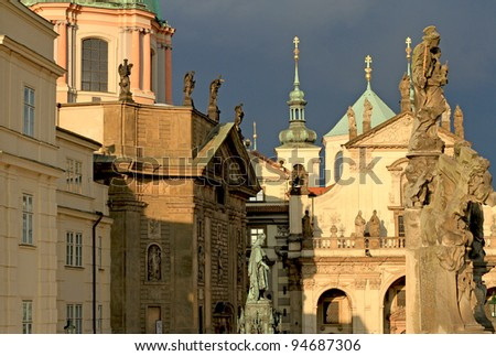 Prague Old Town view of  Knights of the Cross Square with churches and spires