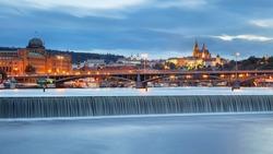 Prague. Panoramic cityscape image of Prague, capital city of Czech Republic, during twilight blue hour.