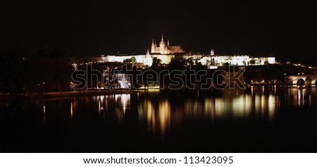 Prague Skyline, include Charles Bridge and Prague Castle, seen from  Legion Bridge at night