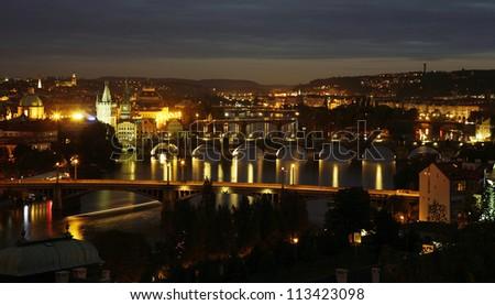Prague Skyline over vltava river seen from  Letna Park(Letenske sady)