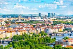 Prague skyline with Bridges over Vltava River and modern skyscrapers of Pankrac District on bankground, Praha, Czech Republic