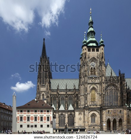 Prague - St. Vitus Cathedral, Granite Monolith and the Bishop's Palace in Hradcany