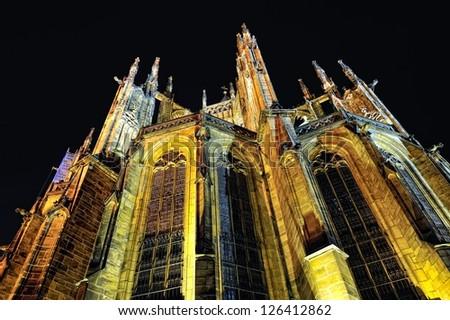 Prague. St. Vitus cathedral. Night time.