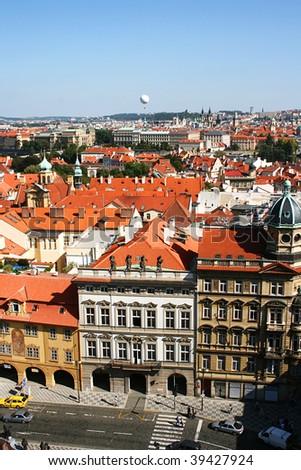 Prague street aerial view. Czech Repaublic