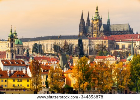 Prague, the Castle and St. Vitus Cathedral. Czech Republic Stock photo ©