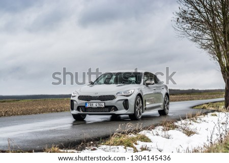 PRAGUE, THE CZECH REPUBLIC, 19. 1. 2019: Kia Stinger GT 3.3 V6 T-GDI, model year 2019 in Czech #1304145436