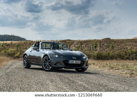 PRAGUE, THE CZECH REPUBLIC, 7. 10. 2018: Mazda MX-5 Miata RF, model year 2018 in Czech #1213069660