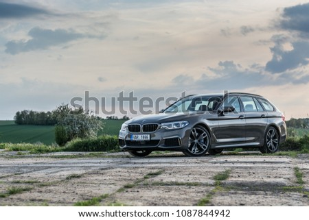 PRAGUE, THE CZECH REPUBLIC, 29. 4. 2018: New BMW M550d xDrive Touring, model year 2018 in Czech on road #1087844942