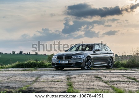 PRAGUE, THE CZECH REPUBLIC, 29. 4. 2018: New BMW M550d xDrive Touring, model year 2018 in Czech on road #1087844951
