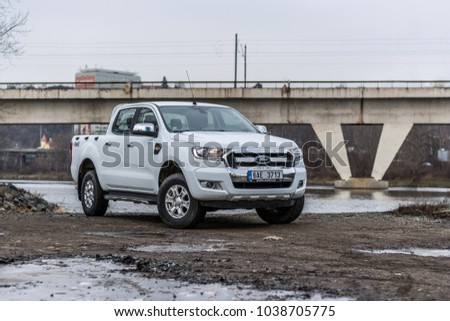 PRAGUE, THE CZECH REPUBLIC, 14. 1. 2018: New Ford Ranger, model year 2018 in Czech on field