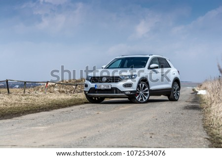 PRAGUE, THE CZECH REPUBLIC, 3. 4. 2018: New Volkswagen T-ROC 2.0 TSI, model year 2018 in Czech #1072534076