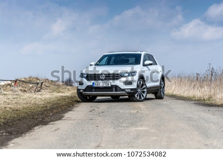 PRAGUE, THE CZECH REPUBLIC, 3. 4. 2018: New Volkswagen T-ROC 2.0 TSI, model year 2018 in Czech #1072534082