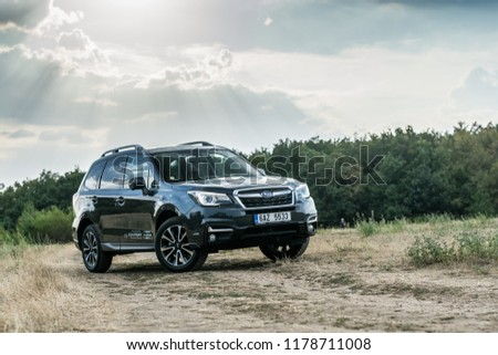 PRAGUE, THE CZECH REPUBLIC, 13. 7. 2018: Subaru Forester, model year 2018 in Czech #1178711008