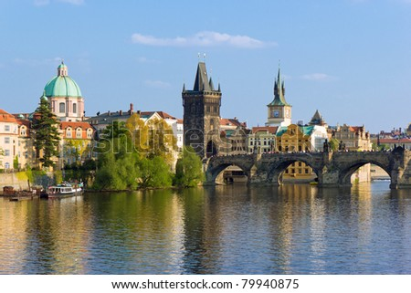 Prague towers over Vltava river