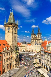 Prague Tyn Cathedral and Clock Tower, Czech Republic