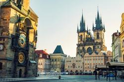Prague, Tyn Church and Old Town Square. Czech Republic