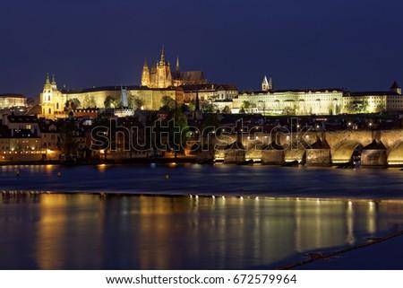 Prague ,view of the Charles Bridge (Karluv Most) at dusk, Czech Republic.
