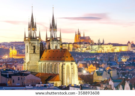 Prague. View of the city at sunset. Stock photo ©