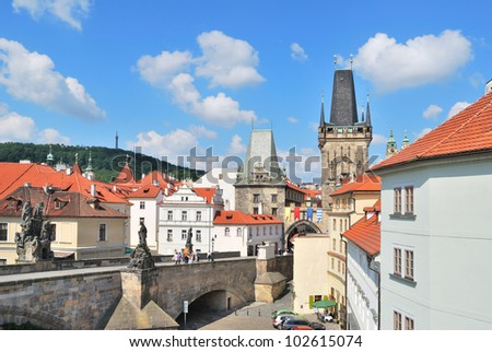 Prague. View of the Lesser Town Towers against very beautiful sky