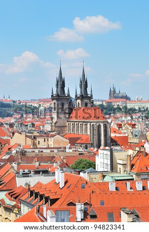 Prague. View of the Old Town and Tyn Cathedral of the Virgin Mary from  the Powder Tower