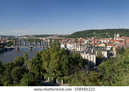 Prague - Vltava River and Lesser Town with Petrin Hill